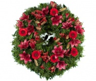 Funeral wreath red Lily