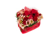 Arrangement Red Heart from Roses and Chrysanthemum