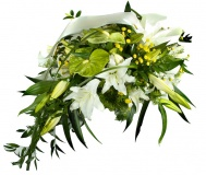 Funeral arrangements of white lilies